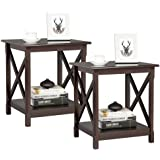 YAHEETECH Sofa Side End Tables with Storage Shelf, Bedside Side Table Nightstand for Bedroom Living Room, Set of 2…
