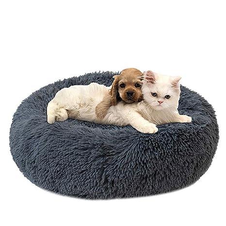 Hianiquaime® Cama para Mascotas Deluxe Plush Redonda de Pelo Nido de Donut con Cojín Perro Invierno Cama Suave y Caliente Profundo para Mascotas Gatos ...