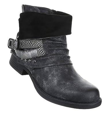 Gefütterte Damen Biker Boots | Nieten Schnallen Stiefeletten | Motorrad  Stiefel | Flache Stiefelette | Hosenstiefel | Schuhcity24 | Größe 36-41:  Amazon.de: ...