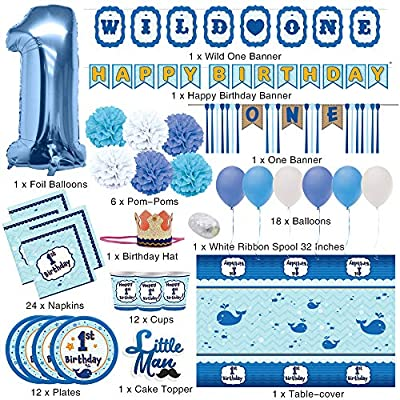 JOYIN 80 PCs Baby Boy 1st Happy Birthday Decorations Party Supplies All-in-One Wild Pack (High Chair Bday Banner, Confetti Balloons, Hats, Cake Topper, Plates, Cups, Tableware) Ideal for Kids One Year Old First Parties.: Toys