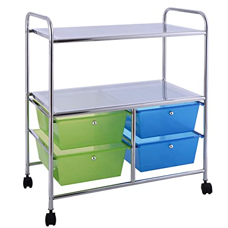 Giantex 4 Drawers Rolling Storage Cart Metal Rack Shelf Home Office  Furniture 2 Shelves