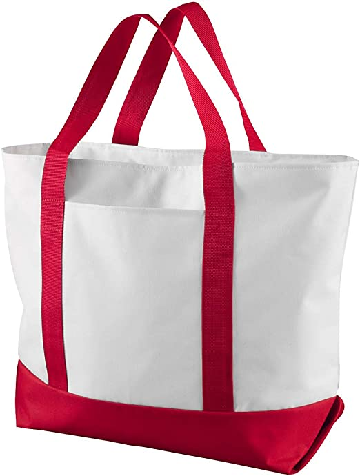 White/_Red Liberty Bags Bay View Boat Tote ALL