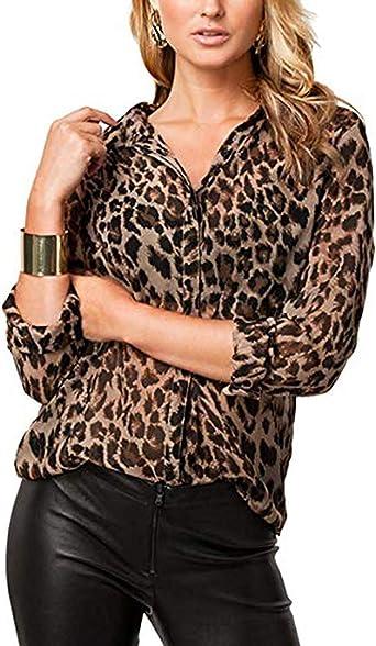 Blusa De Gasa para Mujer De Manga Larga De Leopardo Camisa Sexy con Cuello En V: Amazon.es: Ropa y accesorios