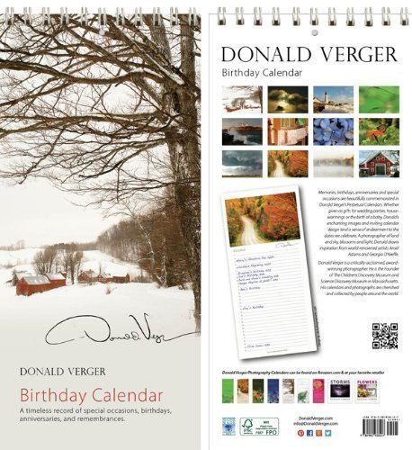 Donald Verger Jenne Farm Vermont Birthday and Anniversary Perpetual Wall Desk Fine Art Books and Calendars - Unique and Great Nature Gifts and Stocking Stuffers for Christmas, Xmas & Holidays for Him, Her, Women, Men, Husband and Wife - Updated 2014