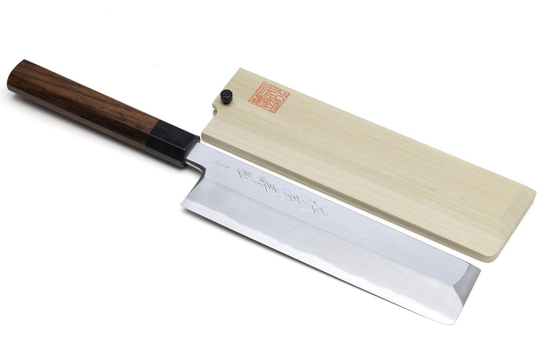 Yoshihiro High Carbon Blue Steel Hongasumi Edo Usuba Japanese Vegetable Chef's Knife Shitan Handle 7.5'' (195mm)