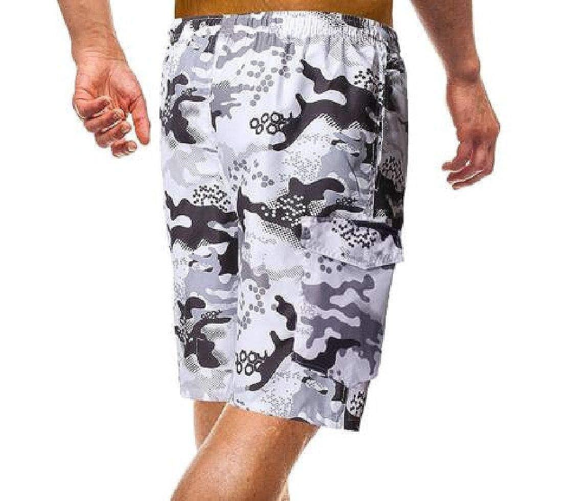 Zantt Men Summer Camo Print Quick-Dry Trunks Swim Beach Drawstring Board Shorts