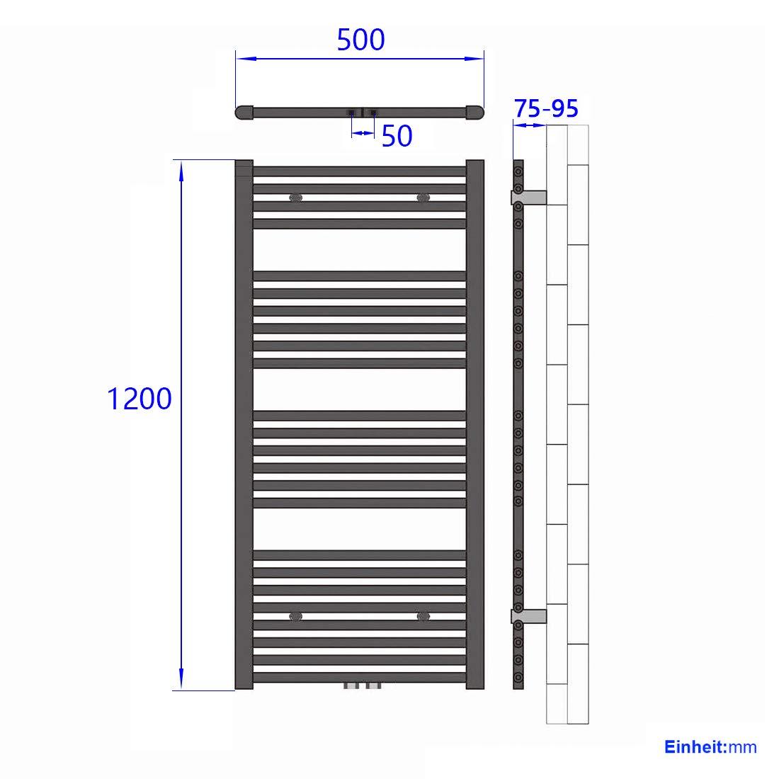 WELMAX Wei/ß Badheizk/örper 600 x 1800 mm Handtuchtrockner 998 Watt Leistung Heizk/örper Bad Mittelanschluss Handtuchheizk/örper