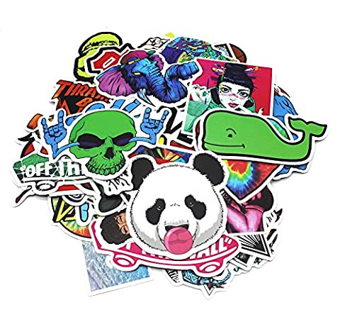 Aikuer 200pcs Laptop Stickers, Car Stickers Skateboard Luggage Bike Motorcycle Bumper Stickers Graffiti Decals Vinyls, Cool Fashion Unique Random Mix Pack for Bicycle Snowboard Helmet Guitar (Decal Stickers Guitar)