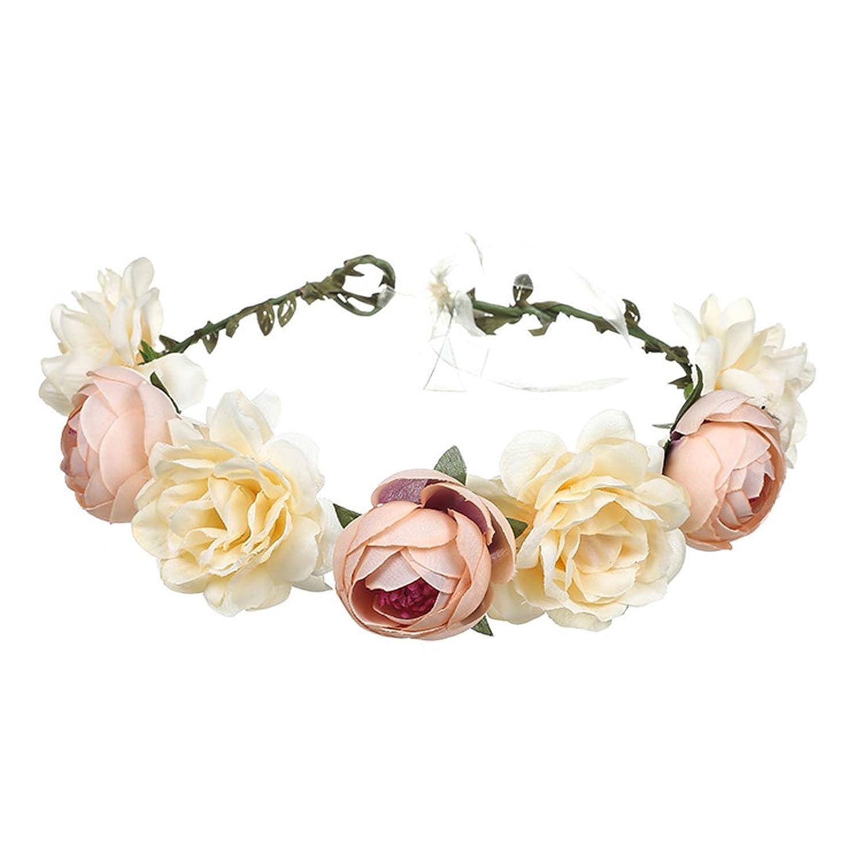 Hot Sale June Bloomy Women Rose Floral Crown Hair Wreath Leave