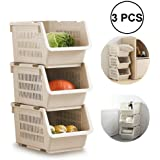 PAVITR SHOP Plastic Home Cloth Kitchen Vegetable Stacking Rack and Storage Bins& Layer Space Saving Storage Organizer Rack Shelf With Wheels For Kitchen Bathroom Fruit Stackable Basket Storage(Set Of 3)
