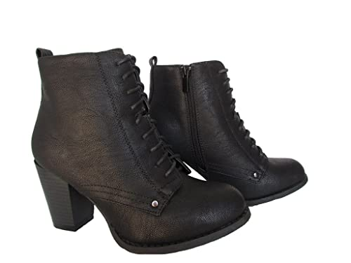 Carmen-3 Womens Patent Leaterette Stacked Heel Fashion Ankle Boots Black