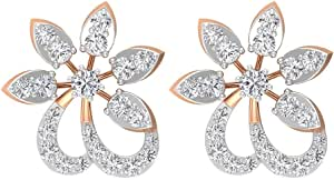 0.43Ct SGL Certified Diamond Stud Earring, Statement Women Mixed Metal Earring, Diamond Flower Bridal Earring, Unique Wedding Anniversary Gold Earring, Screw back