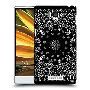 Head Case Designs Black Classic Paisley Bandana Protective Snap-on Hard Back Case Cover for Sharp Aquos Serie SHL25 LTE