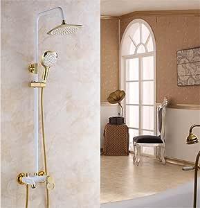 Lujosa ducha de lluvia de oro de montaje de pared de oro blanco de pintura de baño y ducha de grifo con ducha de mano de baño Mixe: Amazon.es: Hogar