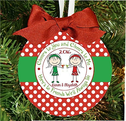 personalized best friends cheers to our friendship cocktail christmas ornament 4 round ornament - Best Friend Christmas Ornaments