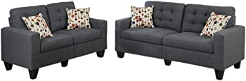 Poundex Sectional 2-Piece Sofa and Loveseat Set