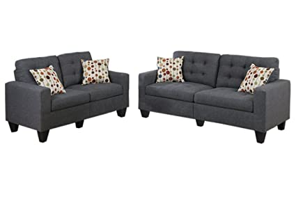 Merveilleux Poundex F6901 Bobkona Windsor Linen Like Poly Fabric 2 Piece Sofa And  Loveseat Set,