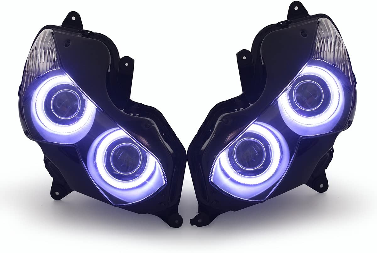 KT Headlight Assembly for Kawasaki Ninja ZX-14R ZZR1400 2012-2019 White Angel Eye