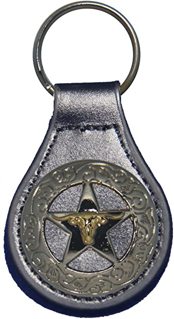 Antique Brass Texas Praying Cowboy Church black leather key fob