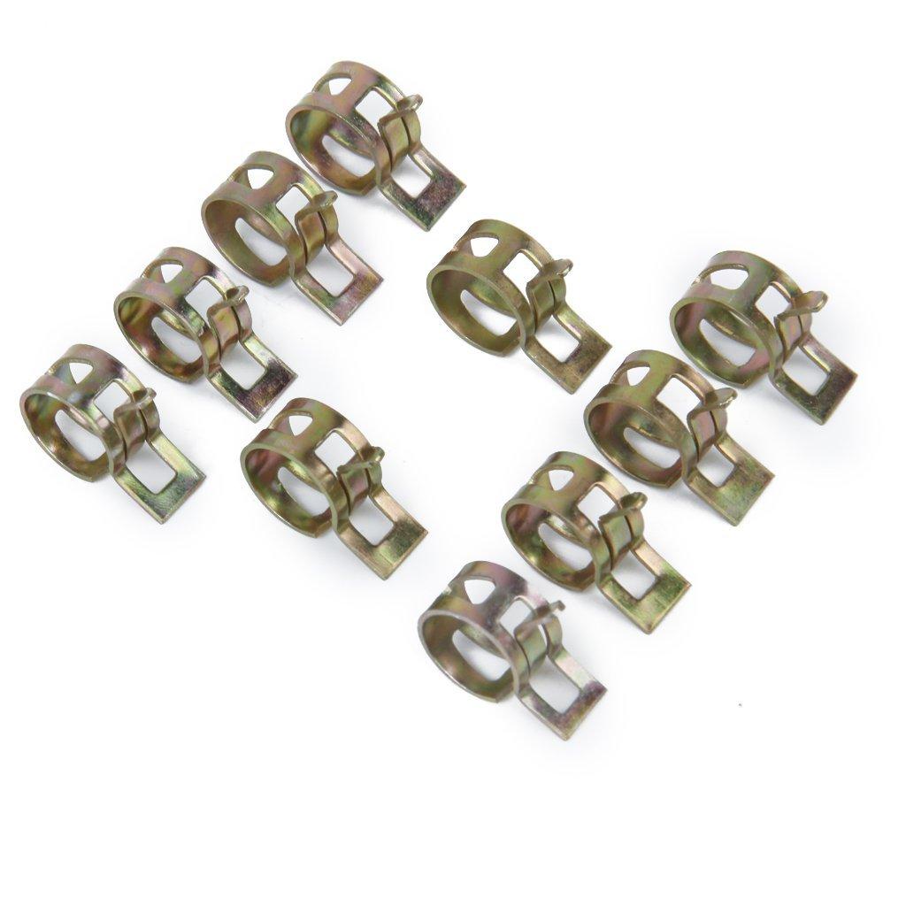 SODIAL(R) 10 x Clip a Ressort Colliers de Serrage pour Tuyau de Carburant Conduite d'eau Tube de l'air Diametre 12mm