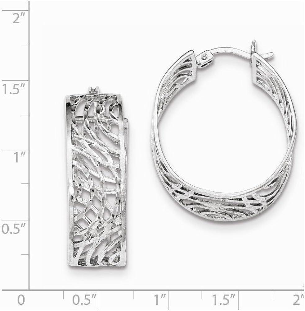 925 Sterling Silver Rhodium-plated Oval Diamond-cut Fancy Hoop Earrings