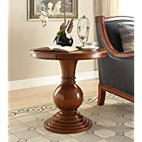 Wooden Round Side Table in Burnt Chestnut