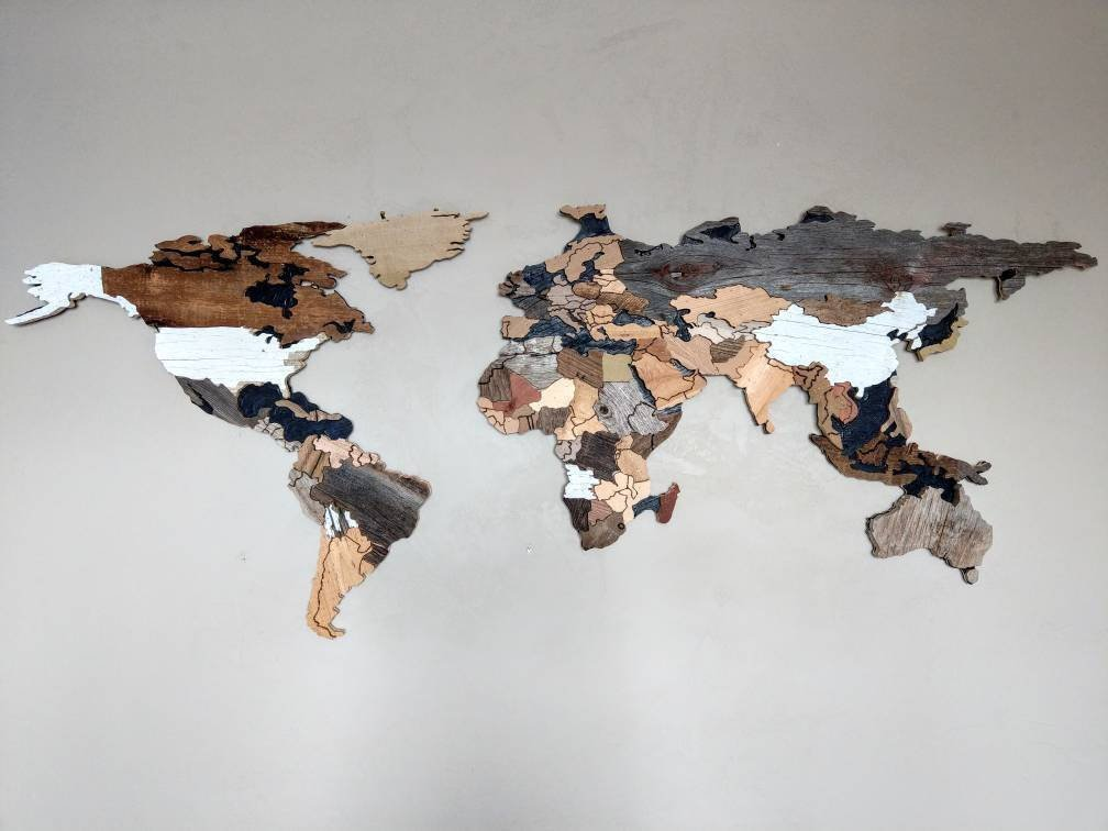 Reclaimed Wood World Map with Countries by Susan Marie May