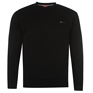 a573e5ac862 Slazenger Mens SL Flc Crew Neck Jumper Long Sleeve Casual Sweatshirt Top  Black XS
