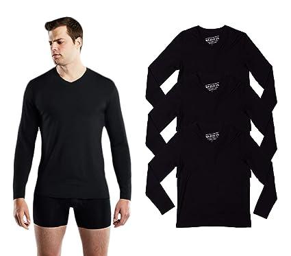 Davis Mens Long Sleeve Bamboo Viscose Base Layer Lounge Undershirt 3 Pack Mr