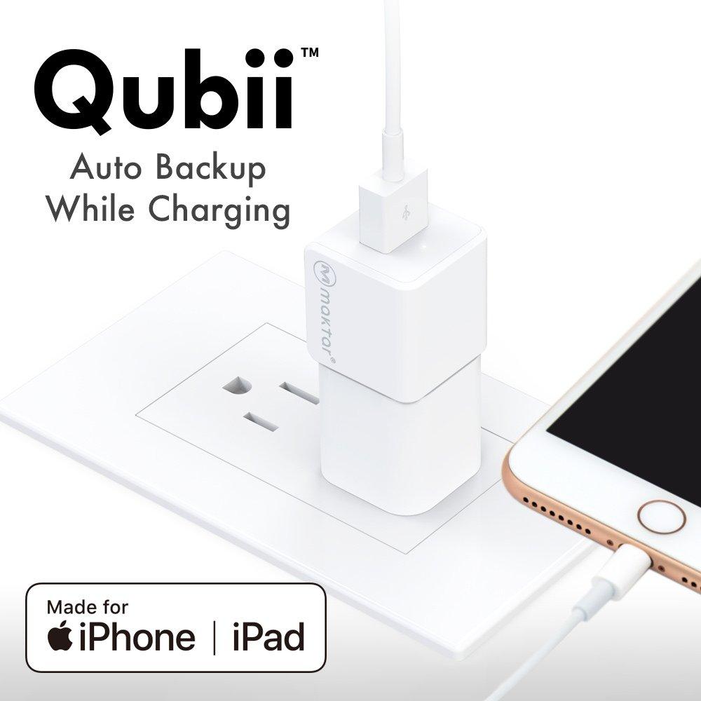 USB Flash Drives Compatible iPhone & iPad/iOS 64GB, 128GB, Lightning OTG Jump Drive, Maktar Qubii Apple Memory Card Reader, Automatically Backup While Charging, microSD Card Reader for Mac and PCs