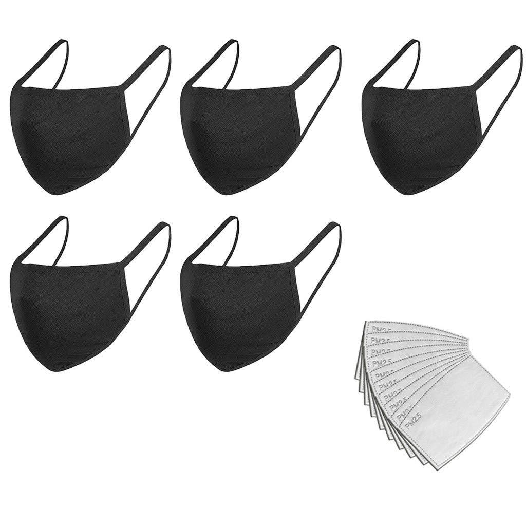 Starne 5Pcs Cara Bandanas Paño de tela de algodón negro con 10 filtros Lavable Reutilizable Durable A prueba de polvo Anti Haze para actividades al aire libre