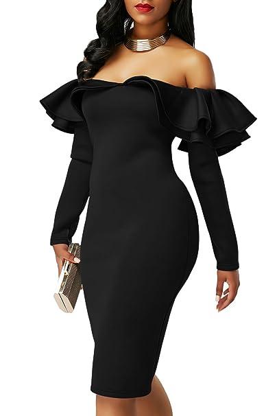 9b634c185544 shelovesclothing Women s Ruffle Off The Shoulder Long Sleeve Bodycon Midi  Party Evening Dress Regular   Plus
