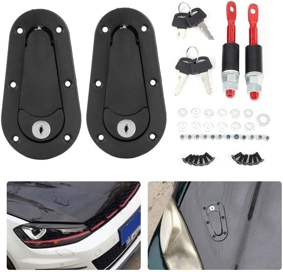 Onewell Car Hood Lock,Latch Hood Pins Universal,2 Pack Car Universal Hood Lock Pin Kits