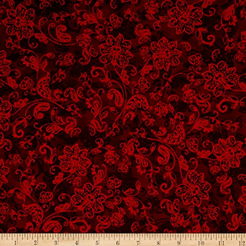 Merry Berry & Bright Metallic Deck The Halls Radiant Crimson Fabric by The Yard