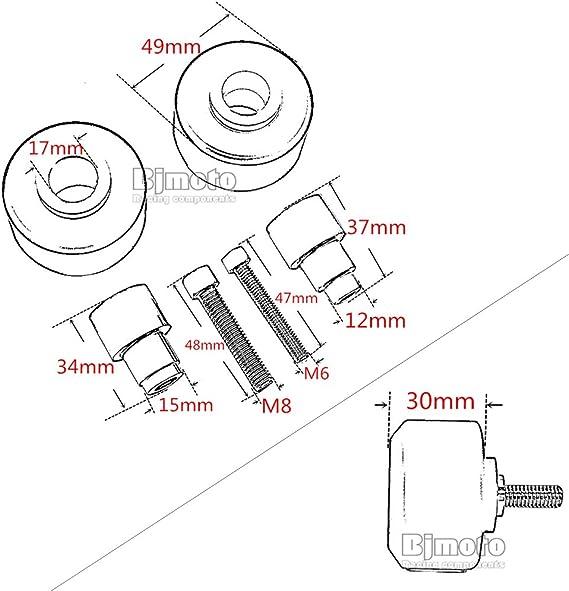 Pour KTMDuke 390 2013-2018 Duke 125//200 avant Fourchette de roue Cadre curseurs Crash /écran
