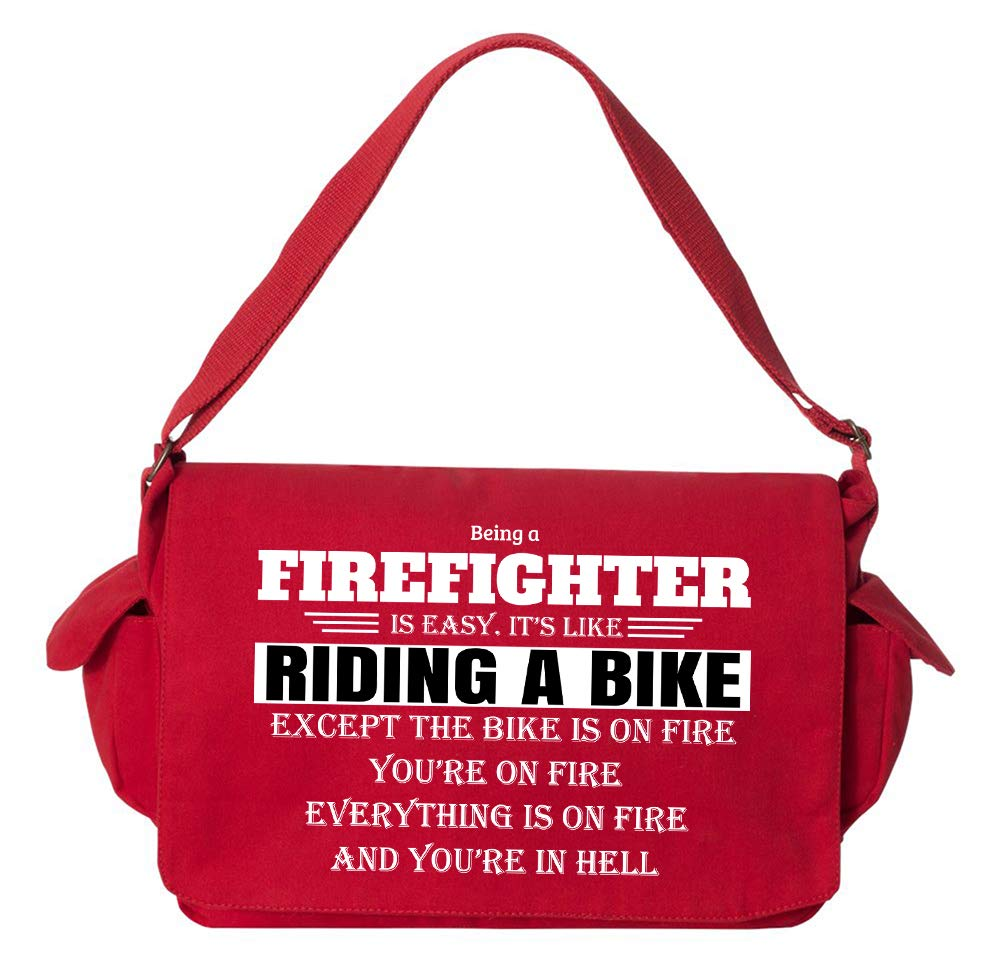 Tenacitee Being a Firefighter Flamingo Raw Edge Canvas Messenger Bag