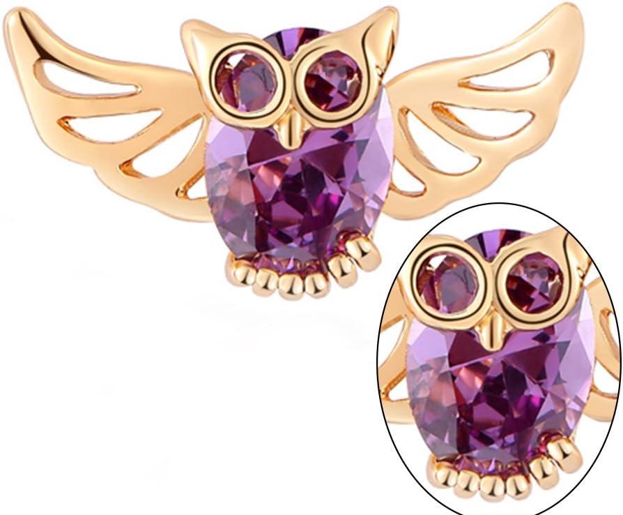 FENICAL Women Ear Studs Earrings Stylish Owl Shape Hollow out Jewelry Decor for Girls Purple