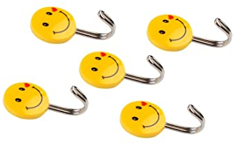 HOKIPO Self Adhesive Smiley Hooks, 5 Pieces, Load Capacity 0.5kg