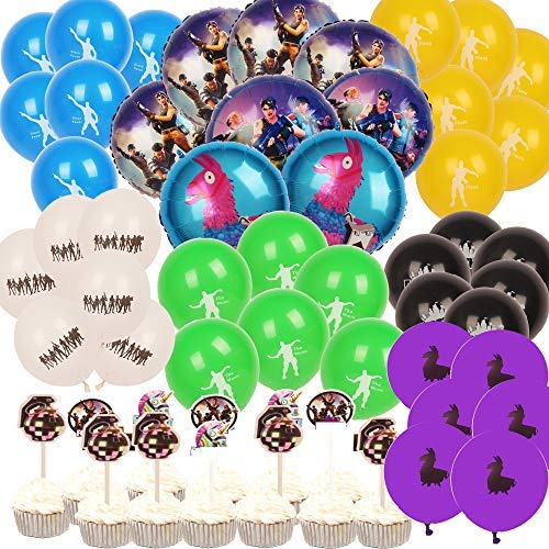 Video Game Party Supplies for Gaming Party Balloons Decorations- 52pcs with 8 Foil Balloons and 36 Latex Balloons and 12 Cupcake Toppers Kids for Video game Birthday Party Favors Party Decorations Balloons -