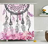 Ambesonne Indian Decor Shower Curtain by, Boho Style Native American Dreamcatcher with Feathers and Florets Illustration, Fabric Bathroom Decor Set with Hooks, 75 Inches Long, Pink Grey