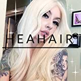 Heahair Handtied Straight Affordable Synthetic Lace Front Wigs, White Blonde