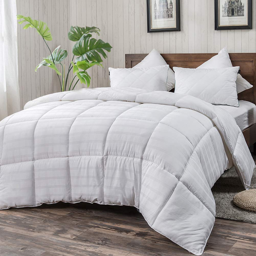 WhatsBedding White Cotton Comforter Queen Size, Tencel Cotton Content for Cooling, Down Alternative Fill Quilted Duvet Insert, Fluffy, Warm, Soft & Hypoallergenic, Medium Weight for All Season