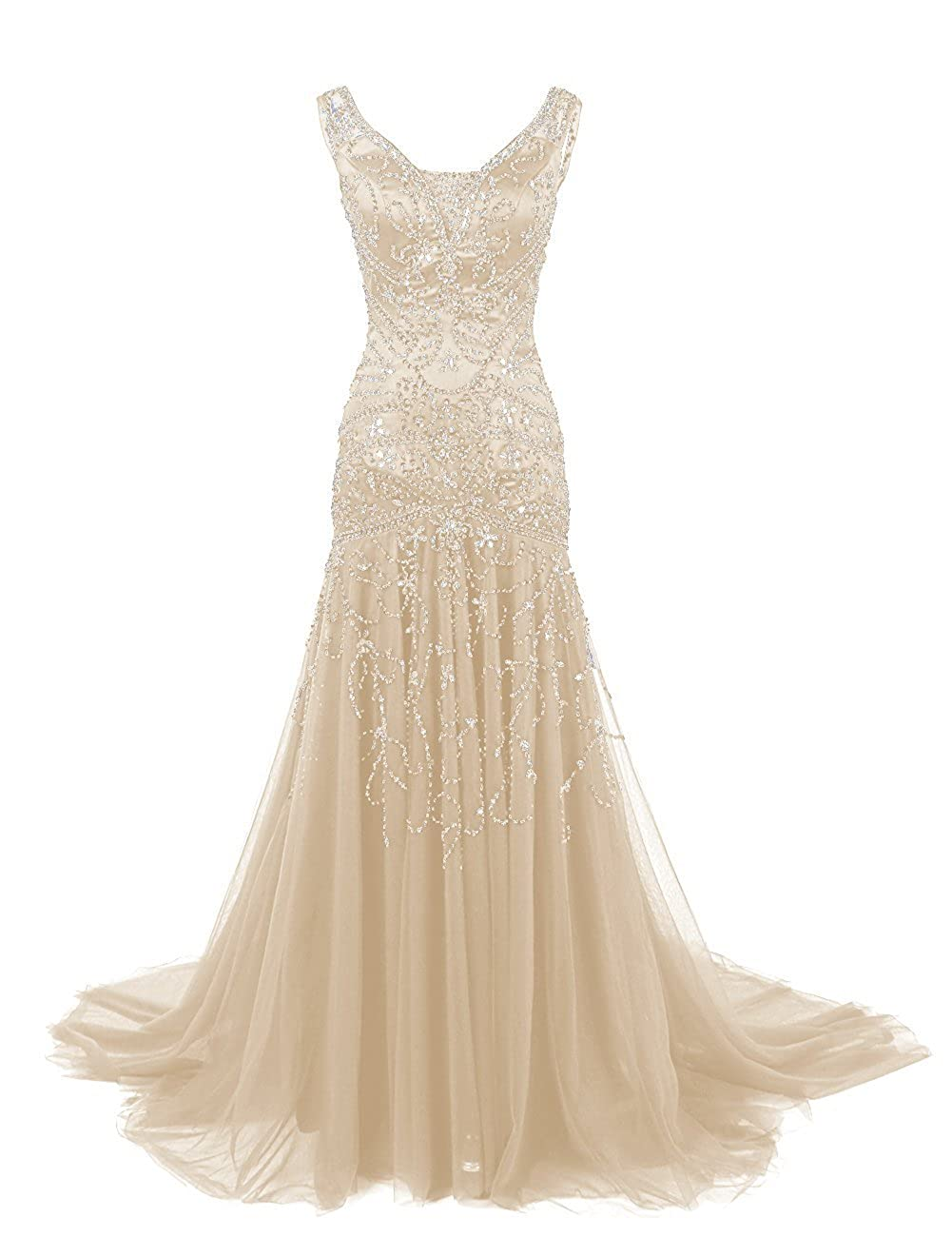 Champagne Ellenhouse Women's Long Mermaid Mother of Bride Dress Beaded Prom Ball Gowns