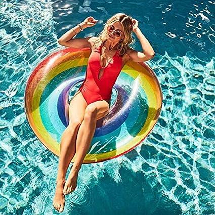 Chornlily - Anillo de natación gigante con diseño de corazón de flamenco, unicornio, flotador inflable para piscina, cisne, piña, tucán, pavo real, juguetes acuáticos