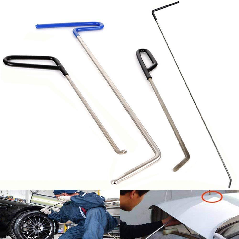 JMgist PDR Rods Tools Hail Repair Kit Paintless Dent Removal Puller Sets Car Door Dings Repair Hand Tools (4 Pieces)