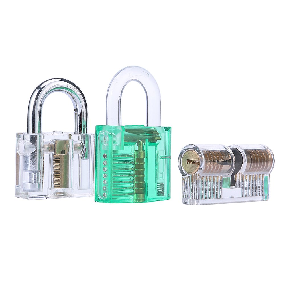 LM Transparent Padlock Set Solid Build,Gift and Practice Idea (3pcs)