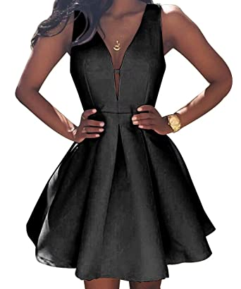 f54c8c5f28f AiniDress Simple Little Homecoming Dress Short Sleeveless Party Prom Dresses  Ball Gown Black