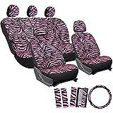 zebra stripe seat covers - OxGord 17pc Set Zebra Animal Print Auto Seat Covers Set - Front Low Back Buckets - Rear Split Bench - Pink & Black