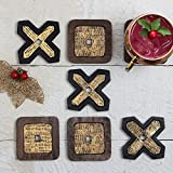 storeindya, Set of 6 - Wooden Coasters with holder for Drinks Absorbent - Tic-Tac-Toe Design - Eco-Friendly Protects Furniture from Water Stains & Damages (Antique Gold Finish)