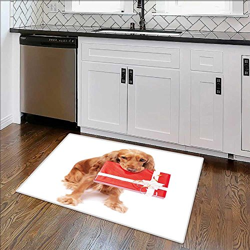 Machine-Washable Large Bathroom Mat The nice dog with the present Non-Toxic Non-Slip Reversible Waterproof W35'' x H23'' by Auraise Home